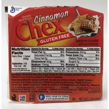 Picture of General Mills Cinnamon Chex Cereal (bowl)