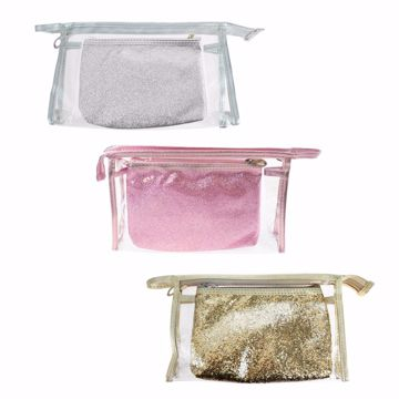 Picture of 2 Piece Cosmetic Bag Set in 3 Assorted Colors