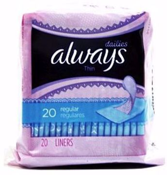 Picture of Always Dailies Thin Pantiliners Unscented - 20 Count