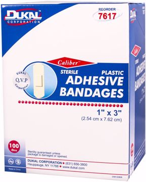 "Picture of Dukal Caliber? Plastic Adhesive Sterile Bandage 1"" x 3"" 100 Count"