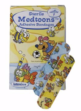 "Picture of Medline Medtoons Adhesive Bandages 3/4"" x 3"" 50 Count"