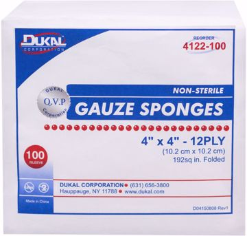 "Picture of Dukal 12 Ply Gauze Sponge 4""x4"" 100 Count"
