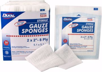 "Picture of Dukal 2-Pack Cotton Fill 8-Ply Sterile Gauze Sponge 2"" x 2"" 50 Count"