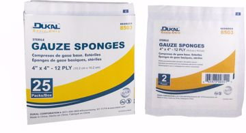 "Picture of Dukal Basic Care 2-Pack 12-Ply Sterile Gauze Sponge 4"" x 4"" 25 Count"