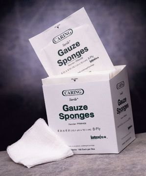 "Picture of Caring 8-Ply Sterile Gauze Sponges 2"" x 2"" 2-Pack 50 Count"