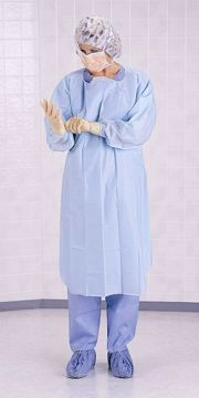 Picture of Medline Thumbs Up XL Polyethylene Gowns- Blue