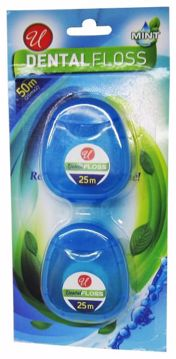 Picture of 25m Mint Flavor Dental Floss 2-Pack (pack of 48)