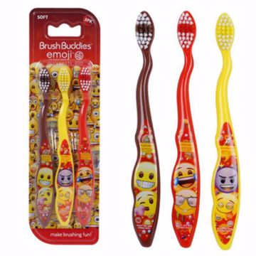 Picture of Brush Buddies Emoji Kids' Toothbrush 3Pk - Soft