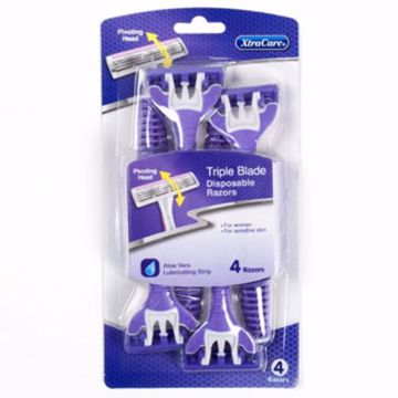 Picture of 4 pack of women's triple blade pivot head razors