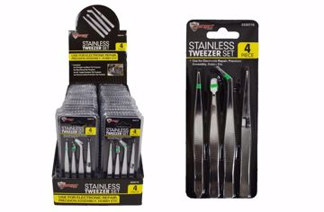 Picture of Stainless Tweezer 4 Piece Set (pack of 36)