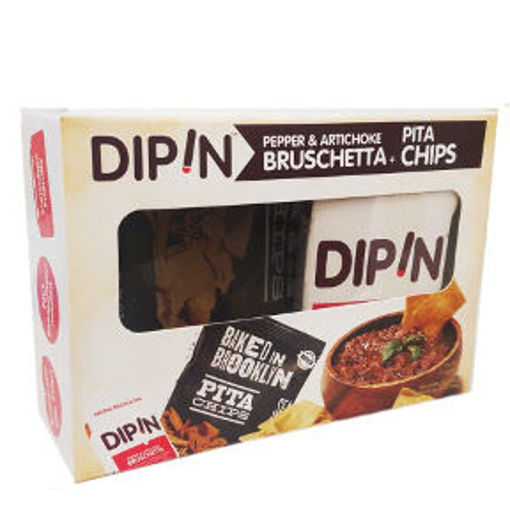 Picture of DipIn - Pepper & Artichoke Bruschetta w/ Baked in Brooklyn Pita Chips (8 Units)