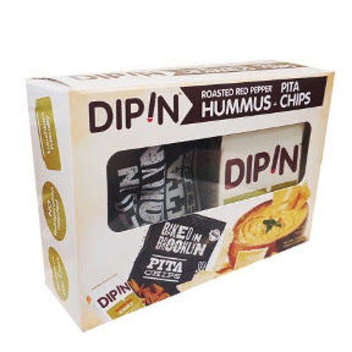Picture of DipIn - Roasted Red Pepper Hummus w/ Baked in Brooklyn Pita Chips (8 Units)