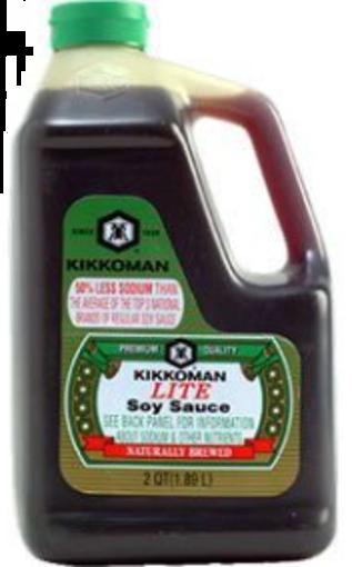 Picture of Kikkoman - Lite Soy Sauce (Less Sodium) - 64 oz, 6/case