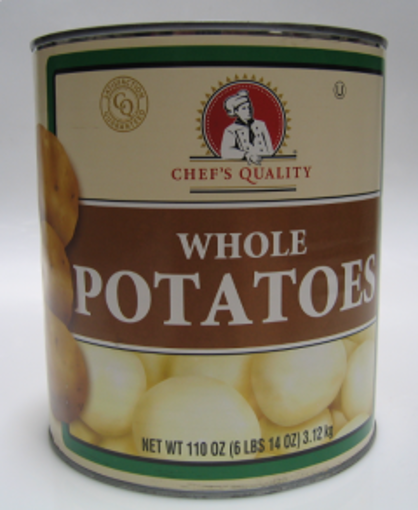 Picture of Chefs Quality - Whole White Potatoes 90/110 ct - #10 cans, 6/case