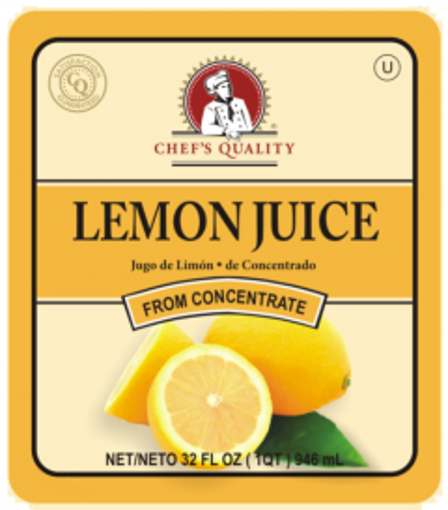 Picture of Chefs Quality - Lemon Juice - 32 oz Bottle, 12/case